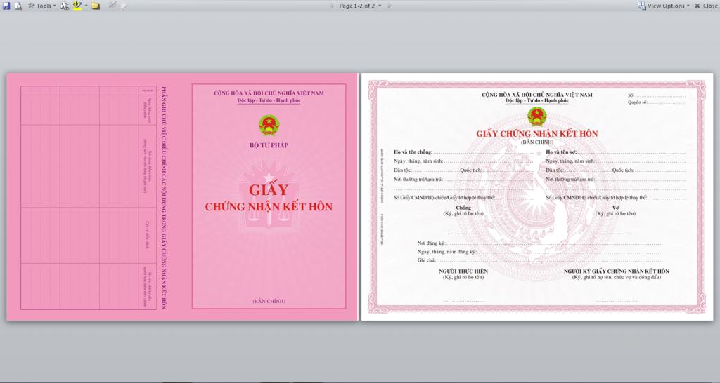 giấy đăng ký kết hôn