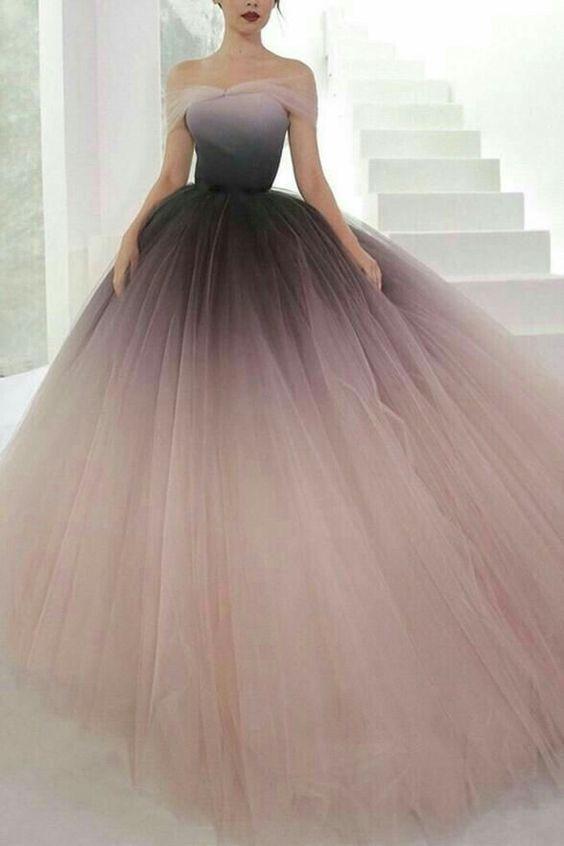 Váy cưới xòe bồng Ombre