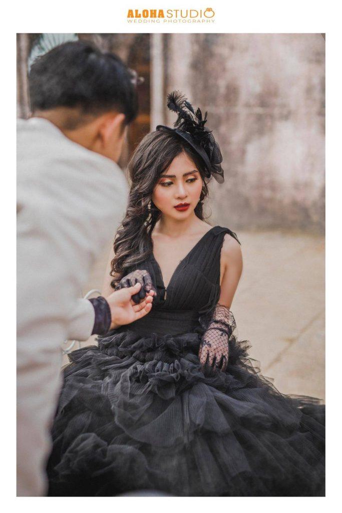 váy cưới đen đẹp phong cách
