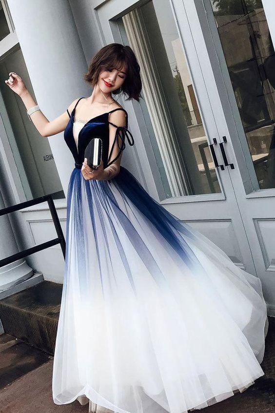 váy cưới chữ A Ombre