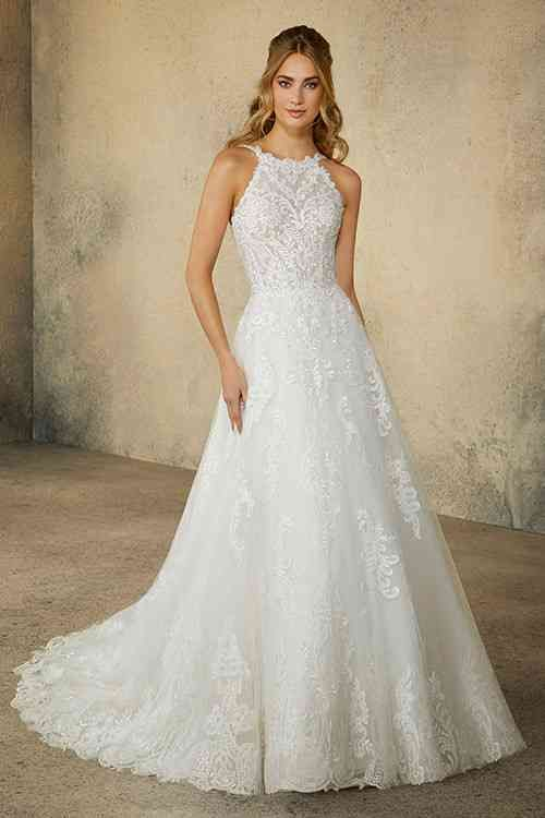 váy cưới dáng chữ A cổ yếm