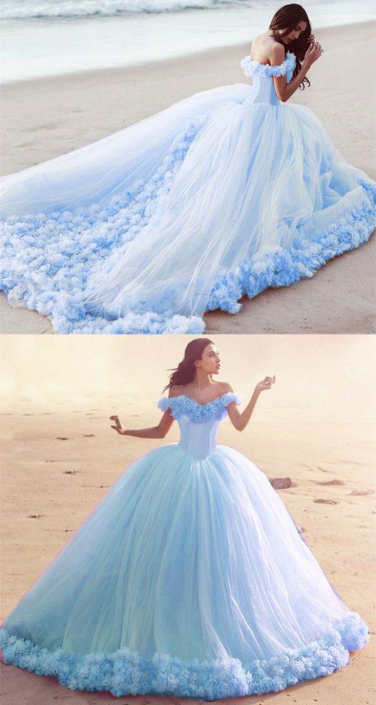 váy cưới màu xanh da trời