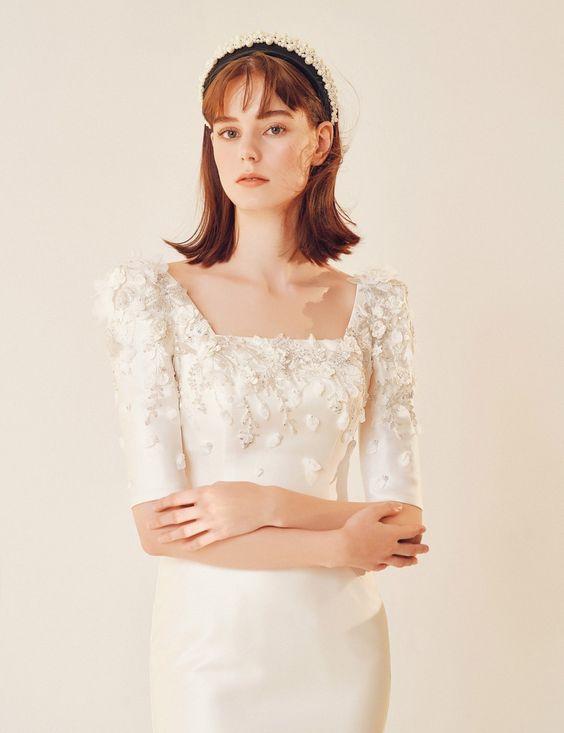 váy cưới tay phồng cổ vuông