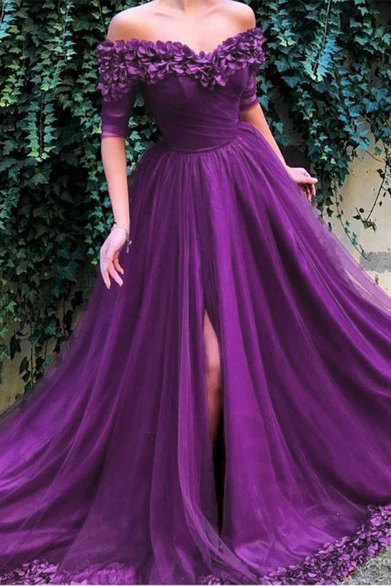 váy cưới dài tay màu tím