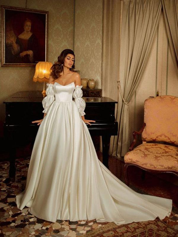 Kiểu váy cưới phi trơn cổ điển
