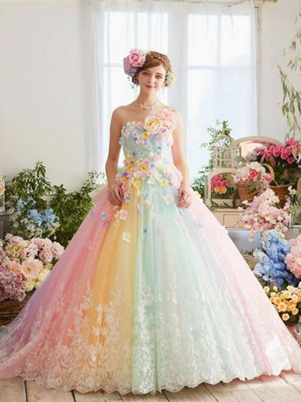 váy cưới 7 màu cực kỳ xinh xắn