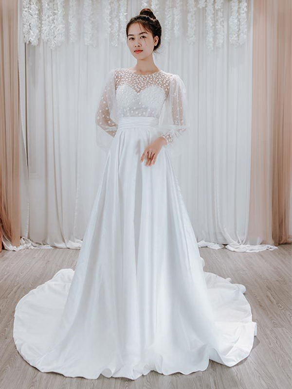 Váy cưới dạ hội dáng chữ A